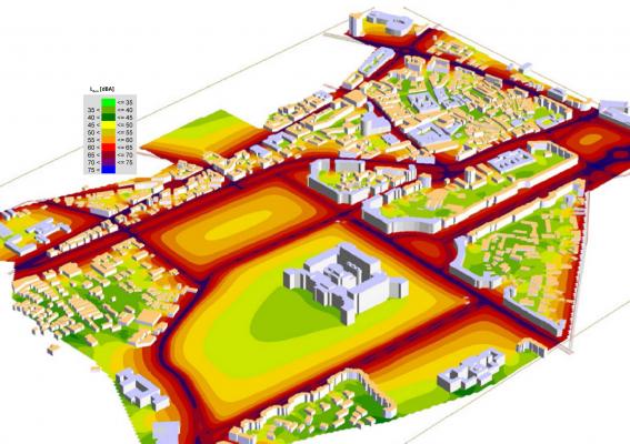 Studiu de zgomot pentru o arie pilot în vecinătatea clădirii Palatul Parlamentului România (Casa Poporului)