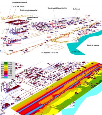 Studiu de e zgomot într-o arie complexă (trafic rutier, trafic, feroviar, activitate industrială)