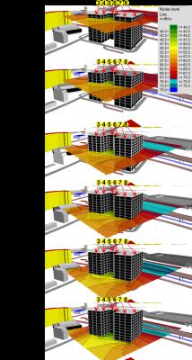 Model de evaluarea nivelurilor de zgomot pe toate fațadele, la diferite cote.