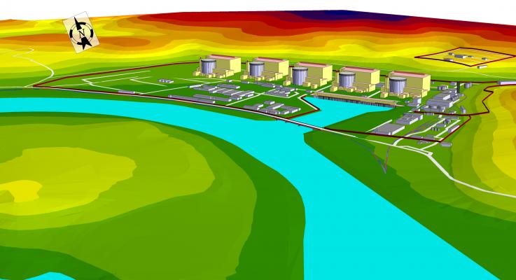 Exemplu de hărți  de cartare acustică pentru o centrala nucleară Model acustic digital