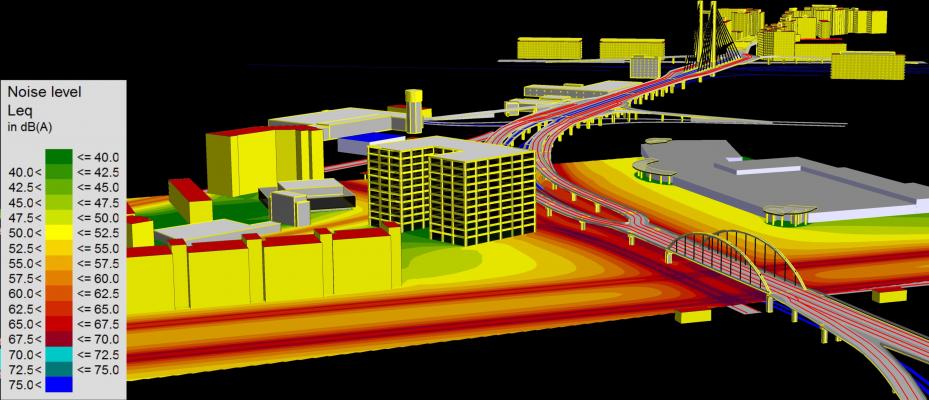 Imagine de ansamblu reprezentând amplasarea clădirii de birouri și distribuția nivelurilor pe timp de noapte (interval orar 23.00 – 7.00)