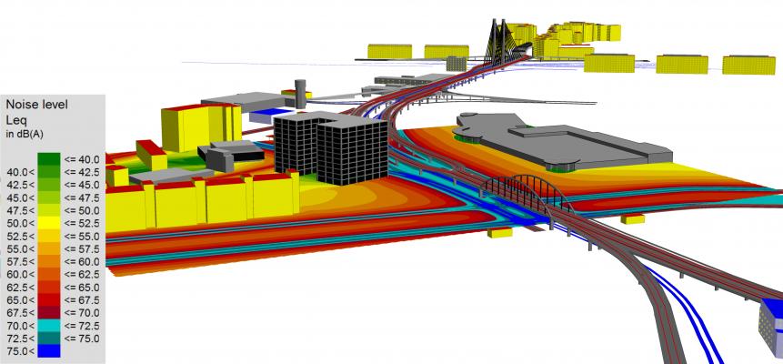 Imagine de ansamblu reprezentând amplasarea clădirii de birouri și distribuția nivelurilor pe timp de zi (interval orar 7.00 – 23.00)