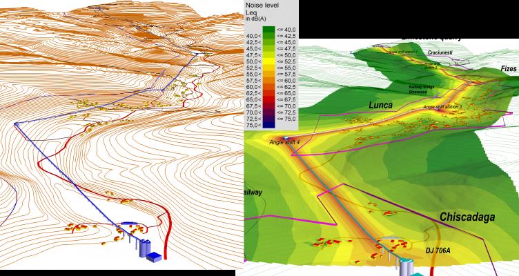 Studiu de zgomot pentru bandă transportoare de calcar,  pe traseul mai multor localități  (L = 8 km)