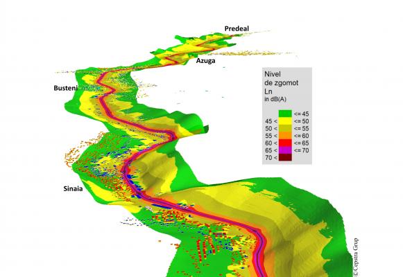 Reprezentare 3D a hărții de zgomot pentru un tronson CF dintr-o zona cu relief variat.