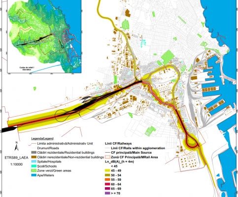 Exemplu de harta de zgomot pentru traficul feroviar din interiorul  unei aglomerări, pentru perioada de noapte.