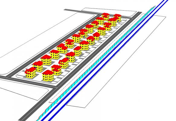 Protecția antizgomot a unei arii locuite situate în vecinătatea unei artere de trafic feroviar